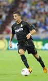 Cristiano Ronaldo in the air. Cristiano Ronaldo playing with Real Madrid Royalty Free Stock Photos