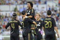 Cristiano Ronaldo celebrates goal. With Marcelo Royalty Free Stock Photo