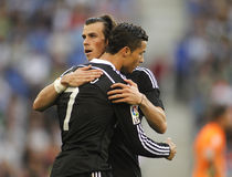 Cristiano Ronaldo en Gareth Bale van Real Madrid stock fotografie
