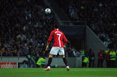 Cristiano Ronaldo (FIFA 2009 World Best Player). Cristiano Ronaldo waiting for the ball soon to qualify to the 2009 UEFA Champions League Semi-Final in Porto Stock Image
