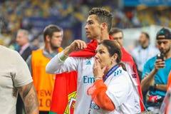 Cristiano Ronaldo i jego mama zdjęcia royalty free