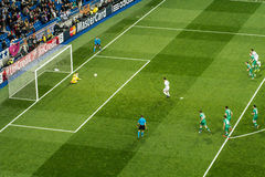 Cristiano ronaldo penalty - real madrid vs ludogorets 4-0 stock image