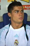 Cristiano Ronaldo portrait. Cristiano Ronaldo of Real Madrid before a Spanish League match against RCD Espanyol at the Estadi Cornella-El Prat on September 12 Stock Photos