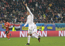 CRISTIANO RONALDO of REAL MADRID. LVIV, UKRAINE - NOVEMBER 25th, 2015: Portuguese CRISTIANO RONALDO of REAL MADRID in action during Europe Champions League match Royalty Free Stock Images