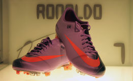 Cristiano Ronaldo's shoes. A shot of Cristiano Ronaldo's shoes in the Real Madrid museum Royalty Free Stock Photos