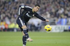 Cristiano ronaldo shooting. At goal during a match Stock Photos