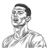 Cristiano Ronaldo Vector Portrait Drawing Line illustration Turin Augusti 27, 2018 stock illustrationer