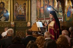 Cristianos palestinos en la iglesia del St Porphyrius en Gaza Imágenes de archivo libres de regalías