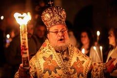 Cristianos palestinos en la iglesia del St Porphyrius en Gaza Fotos de archivo libres de regalías
