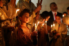 Cristianos palestinos en la iglesia del St Porphyrius en Gaza Fotografía de archivo libre de regalías