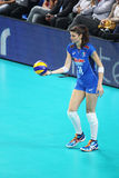 Cristina chirichella. In action in the world cup volley match italy vs azerbaijan played at bari. 1/10/2014 royalty free stock photography