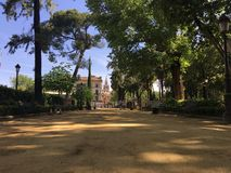 Cristina Garden. And the La Giralda from the Seville Cathedral in the background Stock Photos