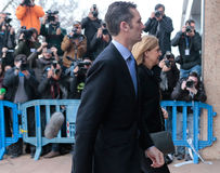 Cristina and inaki 011. Spain princess Cristina arrive with her husband Inaki urdangarin to the court for a trail in the case called Noos in charges of tax fraud Stock Image