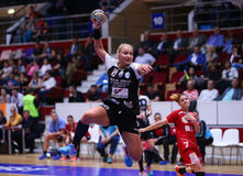 CRISTINA NAN. From CSM Bucharest, in action during a handball match against U Cluj, in Romania's national league, played at Polivalenta Hall, in Bucharest Stock Image
