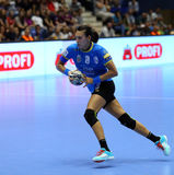 CRISTINA NEAGU. In action during her first game for CSM Bucharest, in Romania`s women handball Supercup against SCM Craiova played at Polivalenta Hall, in Stock Photography