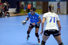 CRISTINA NEAGU. Left, in action during her first game for CSM Bucharest, in Romania`s women handball Supercup against SCM Craiova played at Polivalenta Hall Stock Image
