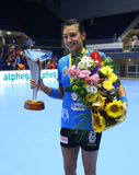 CRISTINA NEAGU. Poses with Romania`s women handball Supercup trophy after winning against SCM Craiova, in a game played at Polivalenta Hall, in Bucharest Royalty Free Stock Images