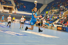 Cristina Varzaru, player of CSM Bucharest attacks during the match with MKS Selgros Lublin Stock Photography