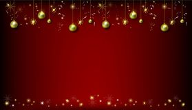 Cristmas与现实圣诞节球和金子s的贺卡 库存例证