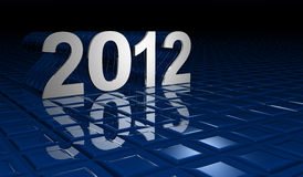 Cristmas. Illustration of numbers of new year 2012 with reflections on a blue bottom Royalty Free Stock Photo
