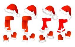 Cristmas ajustou-se: chapéu, lenço e mittens de Papai Noel Imagem de Stock