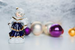 Cristmas angels with the christmas balls Royalty Free Stock Photography