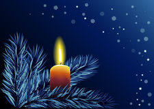 Cristmas background with candle. Christmas background with burning candle Royalty Free Stock Image