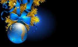 Cristmas background. Highly realistic illustration. Festive background with Christmas ball and golden fir branch. Highly realistic illustration Royalty Free Stock Images