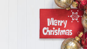 Cristmas background. Red decoration. Merry Cristmas greeting card Stock Images
