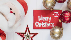 Cristmas background. Red decoration. Merry Cristmas greeting card Stock Photo