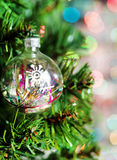 Cristmas ball baubles with on fir tree Stock Photos