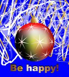 Cristmas ball on hand made background Royalty Free Stock Photography