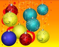 Cristmas balls. Christmas background with different color ornaments Royalty Free Stock Image