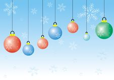 Cristmas balls. Illustrated christmas balls and snowflakes on a blue background Royalty Free Stock Photography