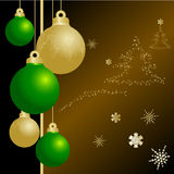 Cristmas balls. Gold and green  cristmas balls Stock Photography