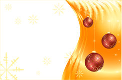 Cristmas balls on the gold background. Various Cristmas balls on the gold background with snowflakes, stars and fir Stock Photo