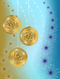 Cristmas balls on gradient background. Golden balls on wavy background with snowflakes in blue brown palette Royalty Free Stock Photography