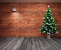 Cristmas Banner on wall. With  Christmas tree Royalty Free Stock Images
