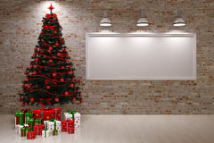 Cristmas Banner on wall Royalty Free Stock Photo