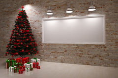 Cristmas Banner on wall Royalty Free Stock Photos