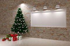 Cristmas Banner on wall. With Christmas tree & gifts Royalty Free Stock Photos