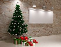 Cristmas Banner on wall Stock Photos