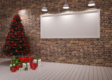 Cristmas Banner on wall Stock Photo