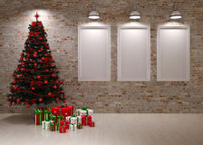 Cristmas Banners on wall. With Christmas tree & gifts Stock Images