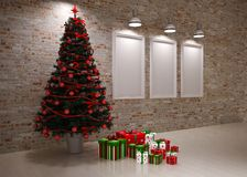 Cristmas Banners on wall Royalty Free Stock Photos