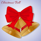 Cristmas bells with red bow. Simple cartoon style. Vector illustration. New Year Collection. Stock Photography