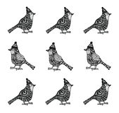 Cristmas birds with hats zentagle pattern Royalty Free Stock Photos