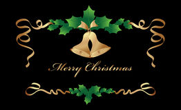 Cristmas border on black background. Christmas border with golden bells and Royalty Free Stock Images