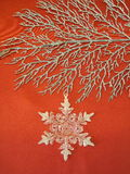 Cristmas branch and snowflake Royalty Free Stock Images