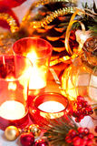 Cristmas candles and decorations Royalty Free Stock Photo